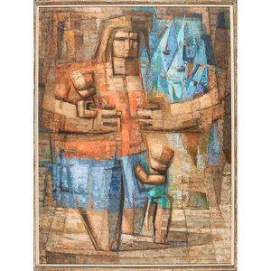 Untitled Painting (Mother With Children And Fish) (Framed), Philadelphia, PA
