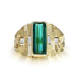 Green Tourmaline Diamond 3D Ring