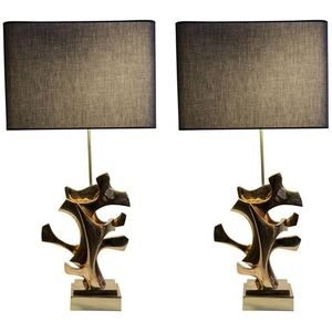 Sculptural bronze pair of lamps by Fred Brouard