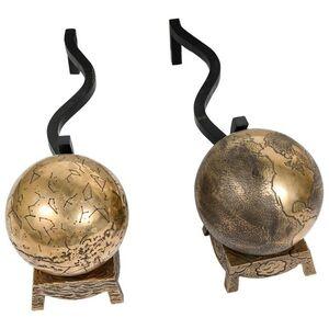 Rare pair of bronze andirons