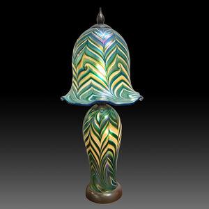 Aqua, White & Silver Threads King Tut Boudoir Lamp