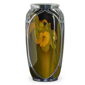 Rookwood, Standard Glaze Vase With Silver Overlay, Cincinnati, OH