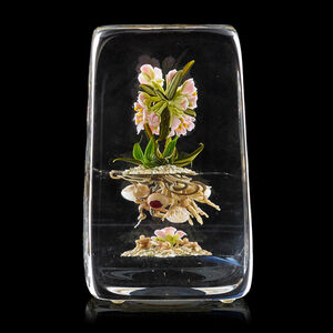 Botanical paperweight with flowers and root people, Millville, NJ