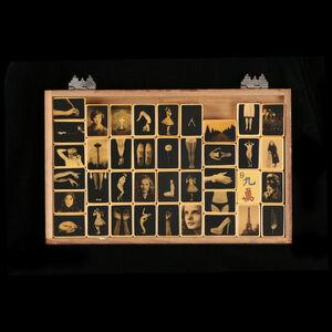 Assorted Mah Jong Tiles in Cedar Box