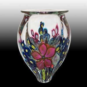 Large Amethyst Clematis, Cobalt Hollyhocks Vase