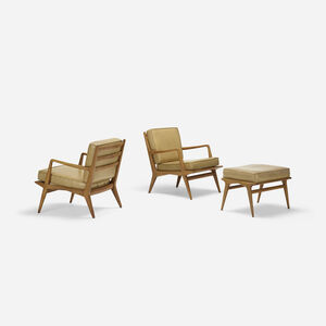 Pair of lounge chairs, model 114 and ottoman, model 143