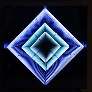 Tableau Néon losange : turquoise / bleu ciel / blanc
