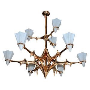 """Huge polished bronze """" Kamikaze"""" chandelier"""