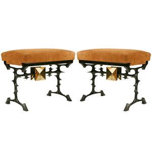 "Pair of ""Kamikaze "" bronze stools By Peter VAN HEECK"