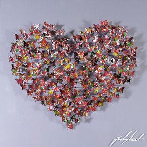 Heart Mini - Red Butterflies on Silver