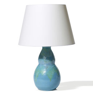 Table lamp with cerulean and sea green glazes