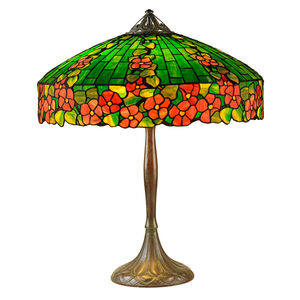 "Rare ""Hollyhock"" Table Lamp, Meriden, CT"