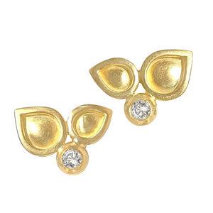 White Diamond Handmade Matte Gold Stud Earrings