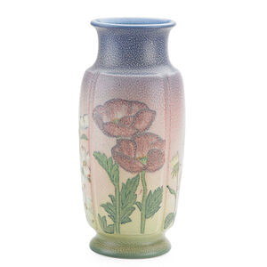 Rookwood, Tall Double Vellum Vase With Poppies, Daisies, Irises, And Dog Wood Blossoms (Uncrazed), Cincinnati, OH
