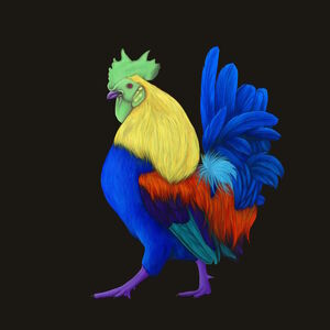Rooster with Purple Feet