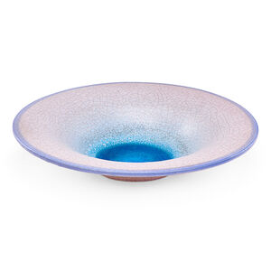 Large Low Bowl, Pink, Blue and Turquoise Glazes, Los Angeles, CA