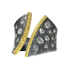 Diamond Oxidized Silver Yellow Gold Open Cyclone Band Ring