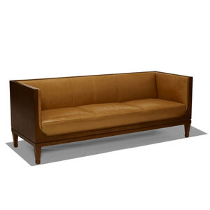 Sofa/settee with oak case and leather upholstery