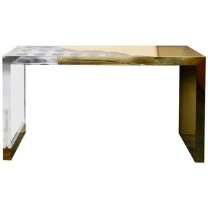 One of kind console with lucite, brass & agates designed for Régis Royant Gallery
