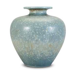 Vase with virtuosic glazing in speckled blue-gray-green with hints of umber by Gunnar Nylund