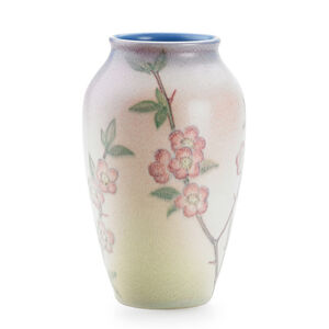 Double Vellum vase with cherry blossoms (uncrazed), Cincinnati, OH