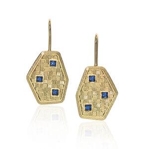 Cornflower Blue Sapphire 3D Earrings
