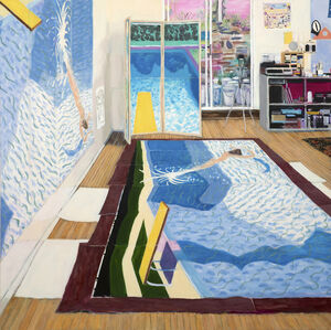 David Hockney's Studio While Painting Paper Pools