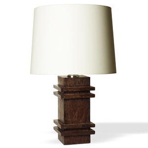 Table lamp with square pedestal base with projecting relief