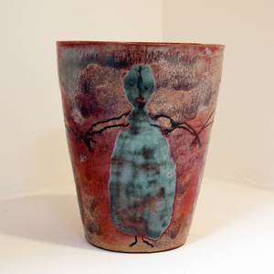 Large Glazed Vessel with Underglazed Figures