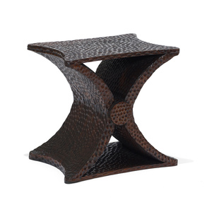 "Pair of ""Diabolo"" X-form table with gouged texture"