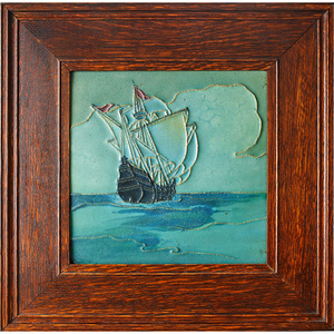 Rookwood Faience, Large Tile Decorated In Cuenca With Tall Ship (Framed), Cincinnati, OH