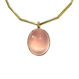 Rose Quartz Bowl Pendant Necklace