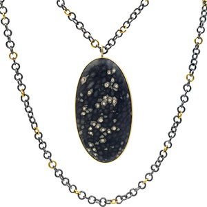 Embedded Alaskan Coral One of a Kind Black and Gold Necklace