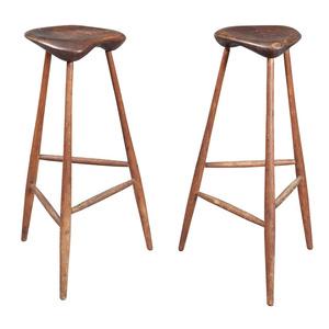 Pair of Wharton Esherick Oak and Walnut Tall Stools