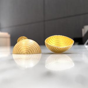 Opalescent Enamel & Yellow Gold Open Shell Handmade Earrings