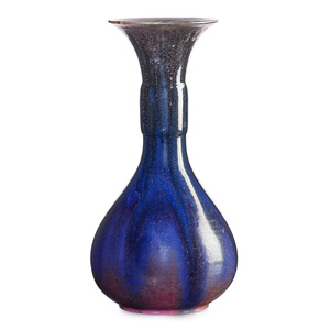 Tall vase, purple and pink flambé glaze