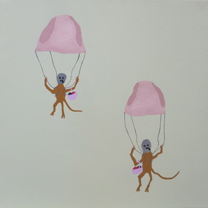 Two Monkeys Parachuting in Underpants