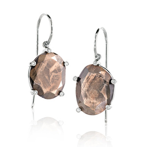 Faceted Opaque Brown Sapphire and Diamond Earrings