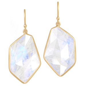 One of a Kind Geometric Faceted Moonstone Dangle Drop Earrings