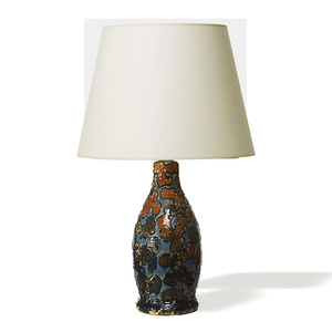 """Camouflage"" series lamp in burnt orange, turquoise and black glazes"