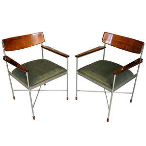 Pair of Steel and Lacquered Rosewood Armchairs