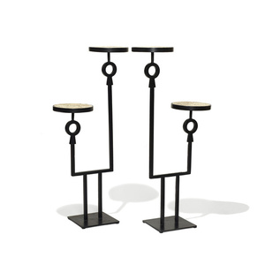 Pair of guéridons / pedestals with staggered double shelves