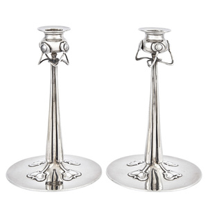 Pair of Liberty and Co., Cymric Pattern Sterling Silver Candlesticks, Design attributed to Rex Silver, Birmingham
