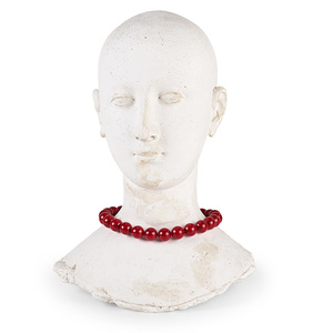 Cast Plaster Female Head Adorned with Ground Coral Beads