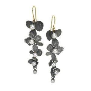 Silver Pearl Oxidized Silver Hydrangea Petal Drop Earrings