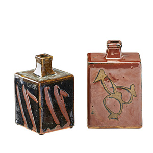 Two square stoneware vessels