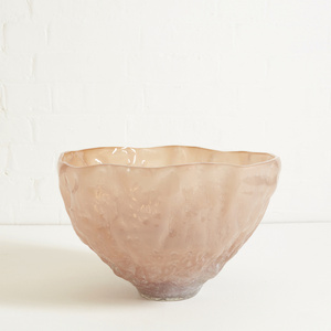 Large Texture Glass Bowl with Kaolin Patina in Light Brown