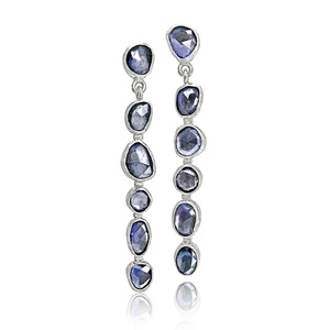 Faceted Violet Blue Sapphire Drop Earrings