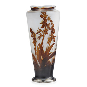 Tall Vase With Crocosmia Orchid Under A Scalloped Rim, France