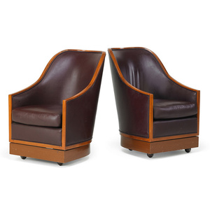 Pair of lounge swivel chairs from the Four Seasons Hotel, New York